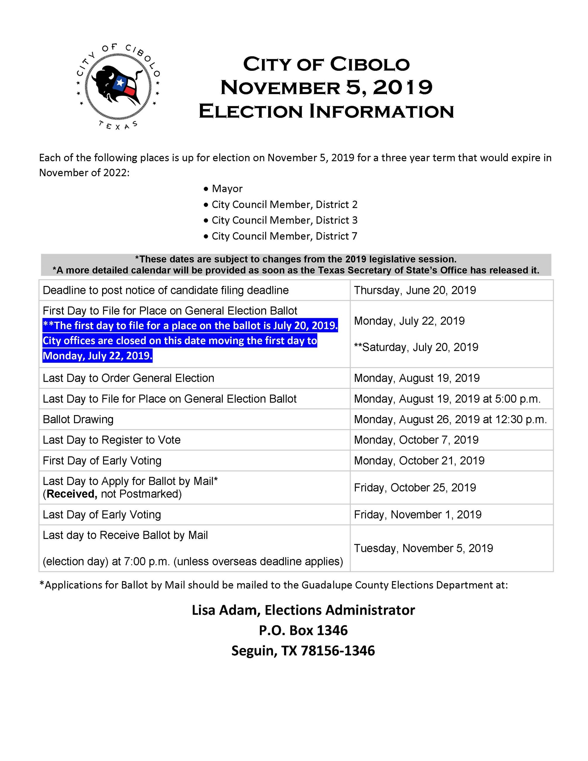 Important Dates for Cibolo Nov 2019 Elections