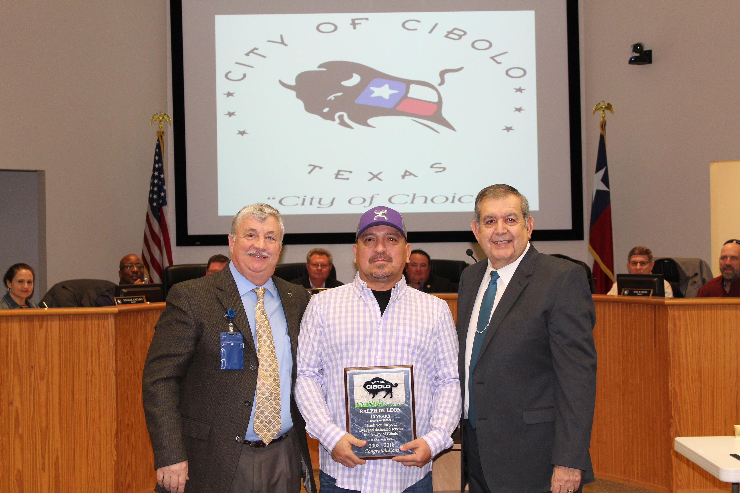 Presentation to Ralph Deleon for 10 years of Service to the City of Cibolo