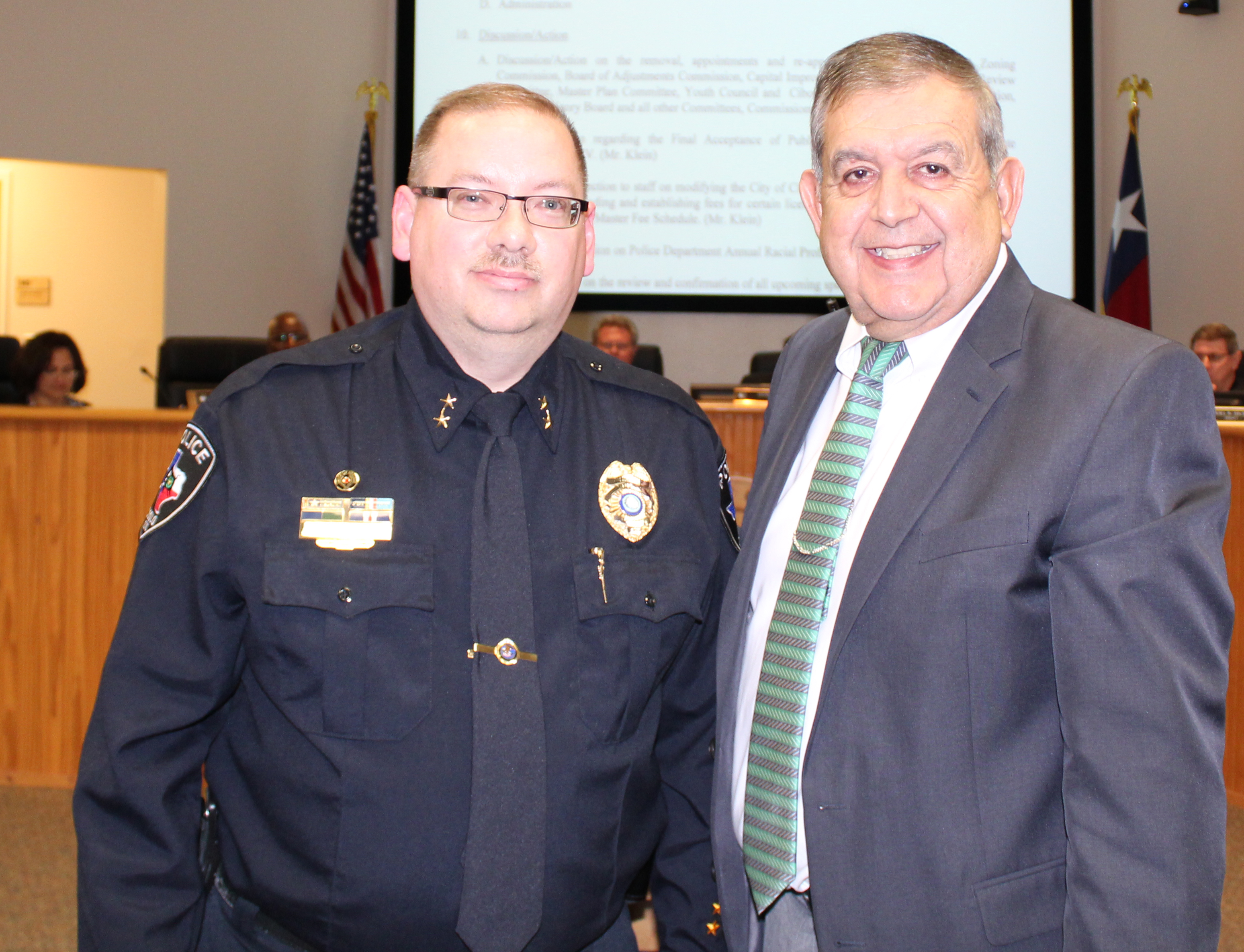 Police Chief Hugghins with Mr. Herrera