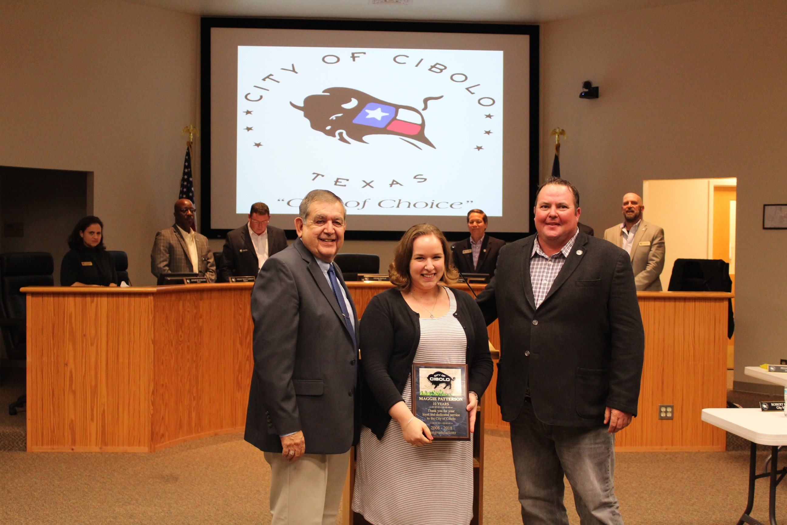 Mr. Herrera Presentation of 10 Years Service Award to Maggie Patterson. (Picture with Mayor Boyle.)