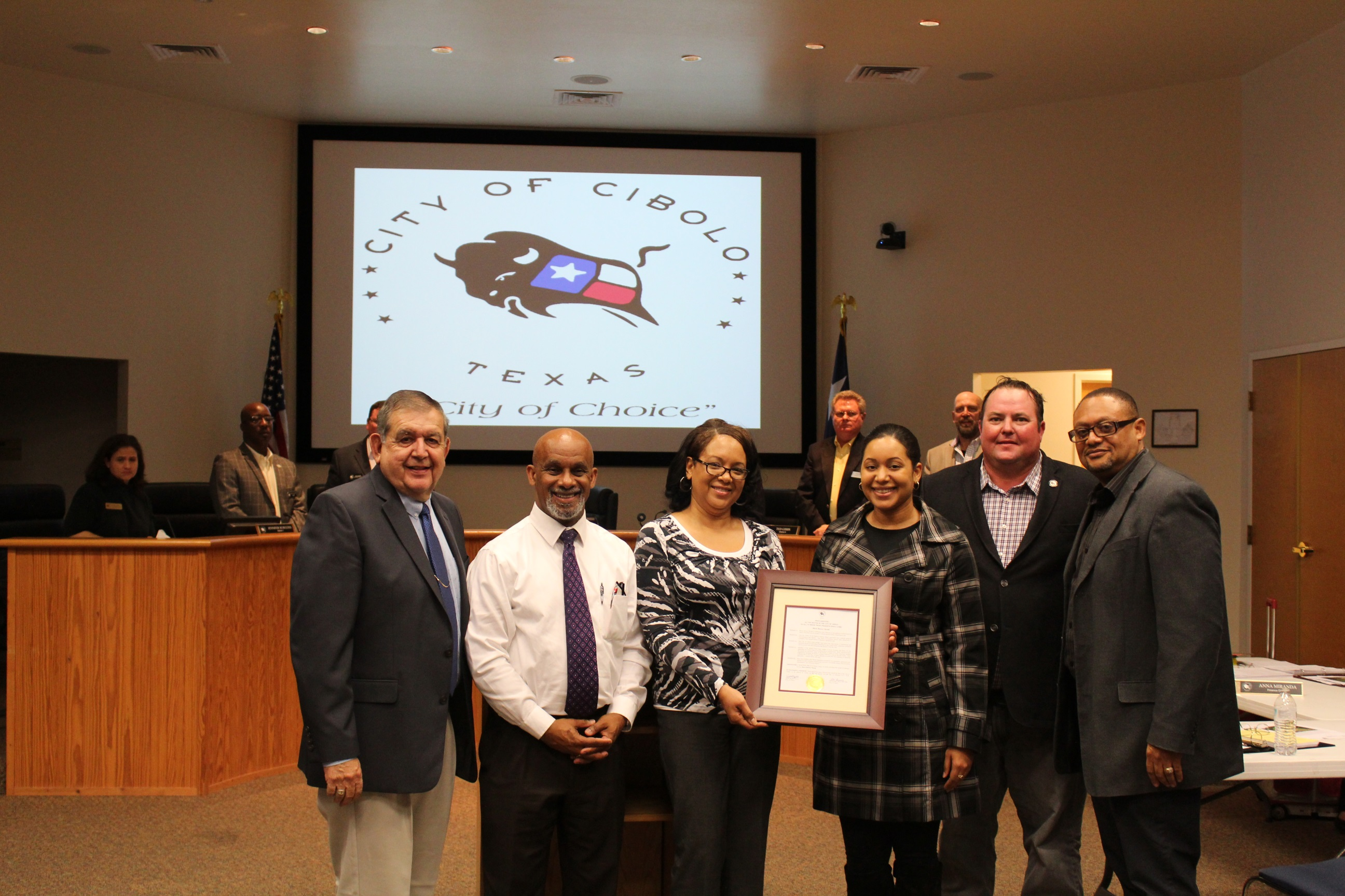 Presentation of a Proclamation for Black History  Month. (Robert T Herrera, Ivory Freeman, Deidre  Jackson, Desiree Jackson, Mayor Boyle and  Donnovan Jackson)